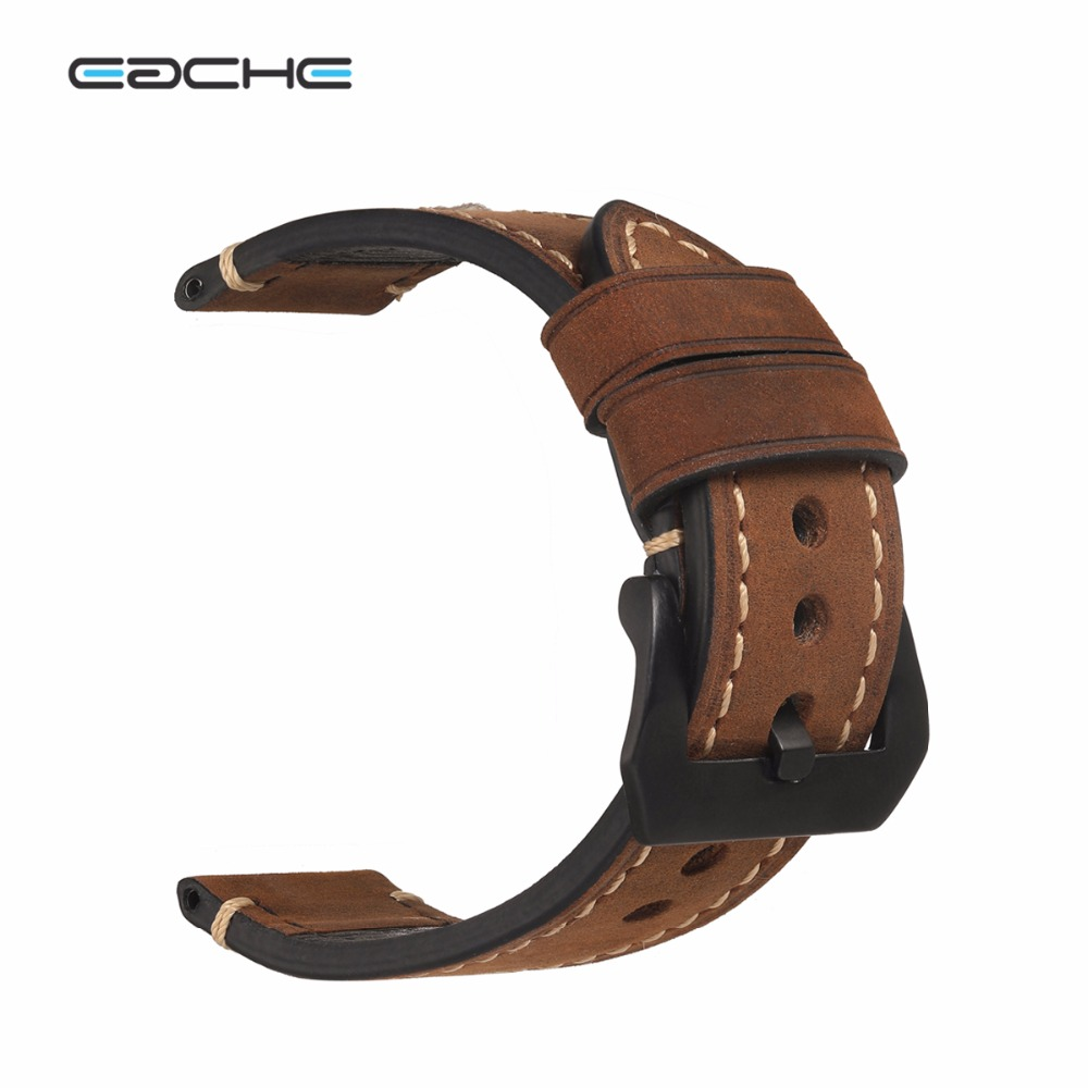 EACHE 20mm 22mm 24mm 26mm Genuine Leather Watch Band Crazy Horse Leather Strap for P Watch Hand Made With Black Buckles 22mm 24mm black mens genuine leather watch strap band