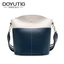 DOYUTIG Luxury Womens Split Leather Bucket Bags Classical Patchework Color European Style Fashion Handbags & Crossbody Bag F612