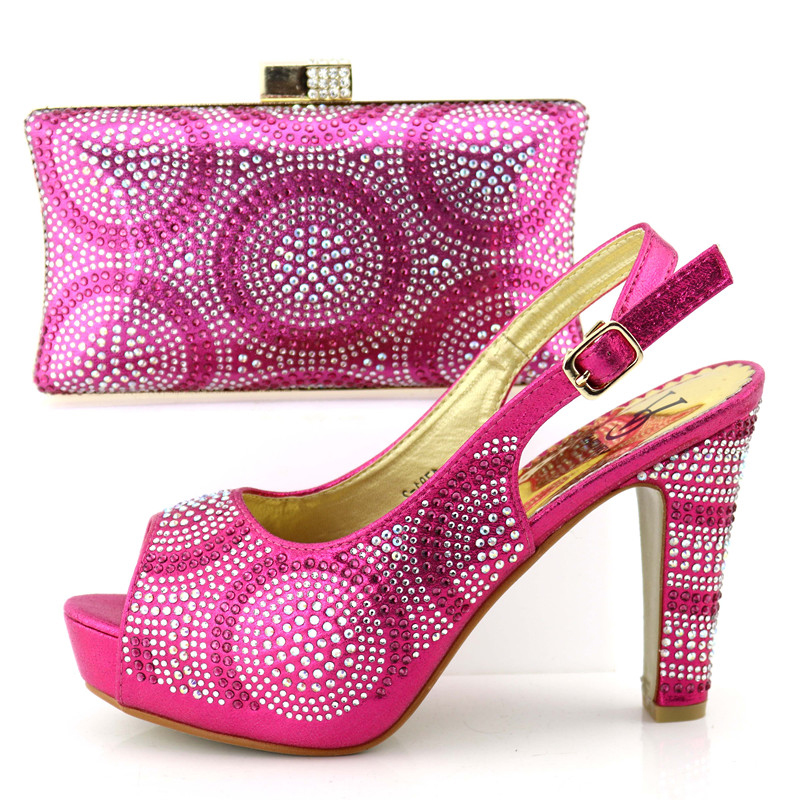 Lovely fushia hot pink rhinestones shoe and bag set aso ebi african lace party  shoes match 99d732a7bc9b