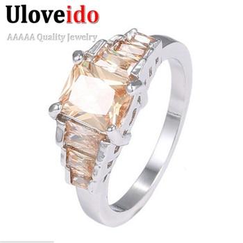 5482e12a4b5a Uloveido clásico Zircon piedra acento solitario anillos para las mujeres  Silberringe ancho boda Ringen Anillo Donna