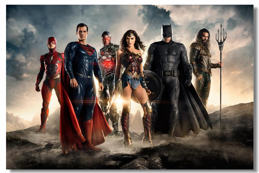 s98 Superhero Wall Decal Justice League Mural Batman Superman Wonder Woman Art