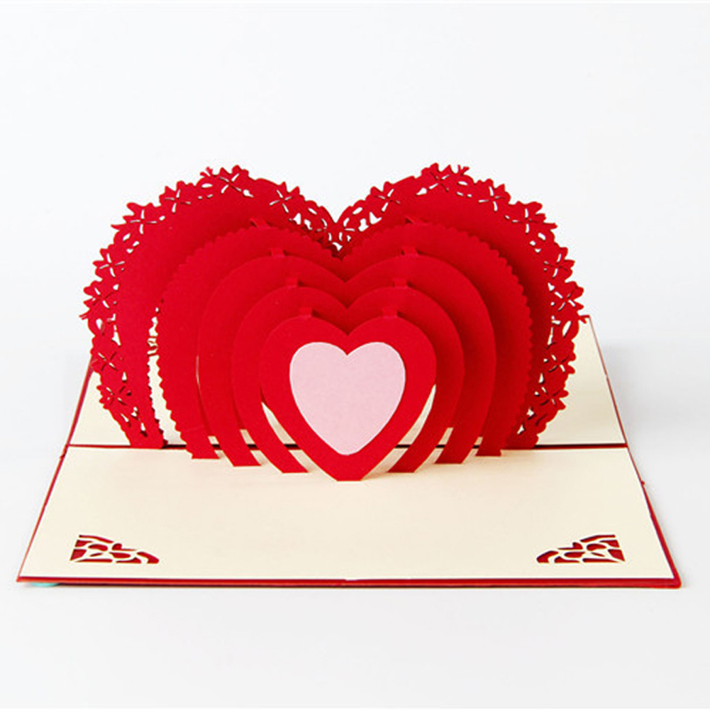 Romantic Paper 3D Laser Pop Up Greeting Gift Cards Valentines Day  Postcards Wishes Couple Etiquette Kraft