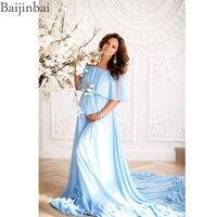 Baijinbai богемный беременность шифоновые Выпускные платья с открытыми плечами Материнство платье для фотосессии Беременная Вечерние платье д