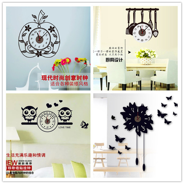 3d clock needle kitchen wall sticker cartoon owl apple design watch