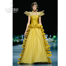 JUSERE 2019 SS FASHION SHOW High Coloar Yellow Long Evening Dress Embroidery Sweep Train Formal Gowns Robe de soiree vestidos
