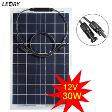 LEORY 30 W 12 V Monocristalino Panel Solar Semi-flexible Pilas de batería DIY Kit de Sistema de Energía Solar Para RV barco Camping + 1 m MC4