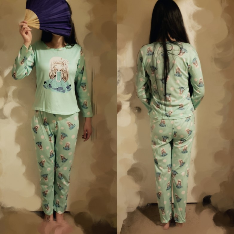 2494769aab very cute pajamas, as described but the material is very thin!. I am 5'7  and weight 115 lbs I ordered a Large