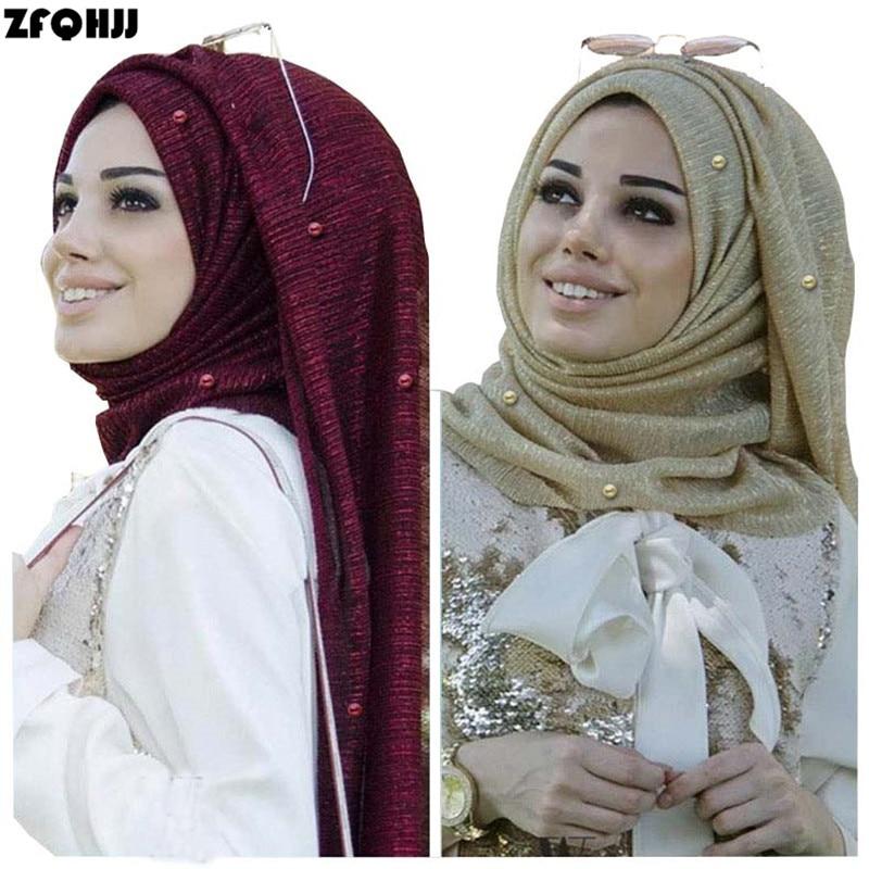 ZFQHJJ Women Hijab Scarf Wrinkle Head Scarf Shiny Sparkling Elastic Gold Silk Yarn Pearls Wedding Party Muslim Hijabs Shawl Wrap
