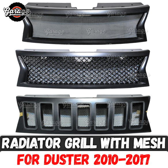 Radiator grille with mesh for Renault Dacia Duster 2010 2017 ABS plastic accessories protective body kit