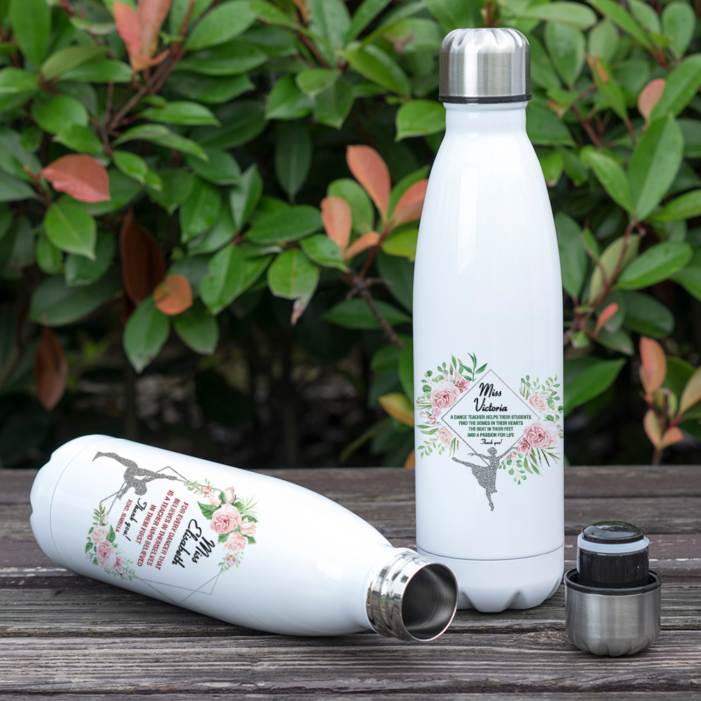 Double Wall Vacuum Stainless Steel Water Bottle Heart Love Ice Skating 17 oz