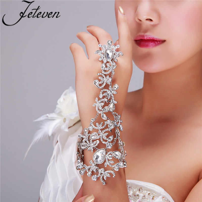 Clear Crystal Bridal Ring Armband Luxe Traan Rhinetone Chain Link Bangle Vinger Ring Wraps Slave Armband Bruiloft Sieraden