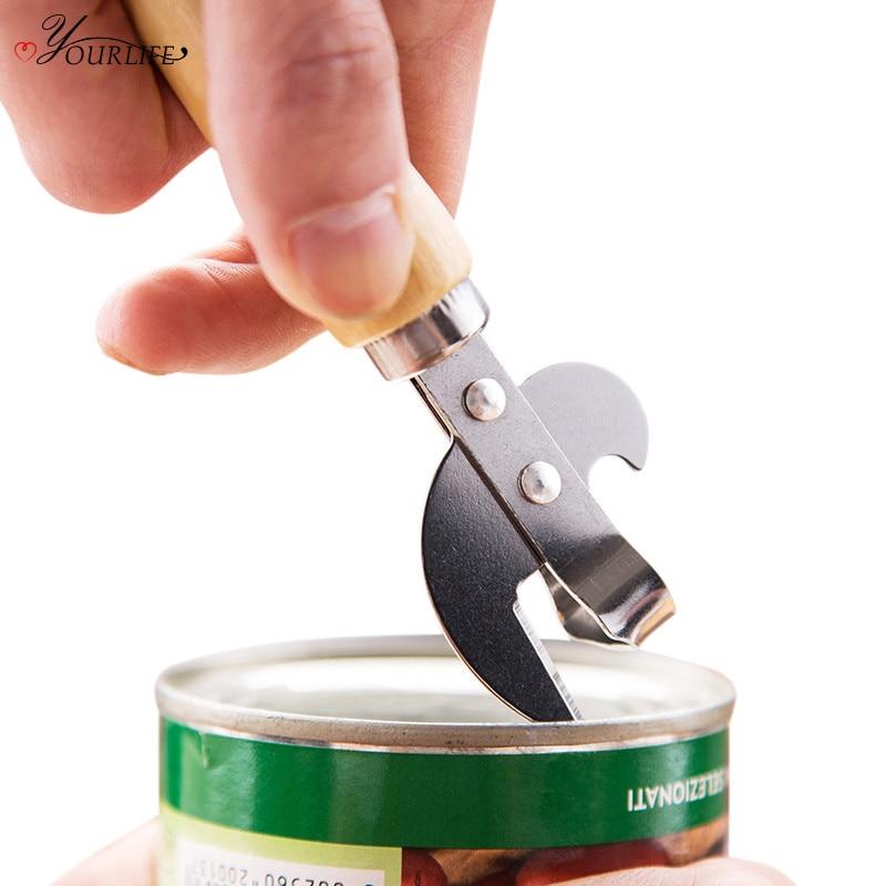 OYOURLIFE 1pc Multifunction Stainless Steel Can Opener Beer Bottle Opener Portable Outdoor Picnic Jar Opener Kitchen Tool