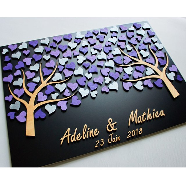 Personalized Wedding Guest Book Tree Custom Color Guestbook Sign In Ideas Unique Guest Book Alternative 3D Wood Purple Hearts