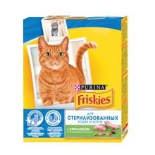 Набор сухой корм Friskies для стерилизованных кошек и котов с кроликом и полезными овощами, Картонная коробка, 300 г x 10 шт.