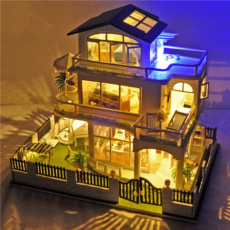 DIY Kit Dollhouse Toy Miniature Scale Model Puzzle Wooden Doll House With Furniture Nice Gift Impress of Vancouver Toy For Kits miniature house shape diy art 3d jigsaw puzzle