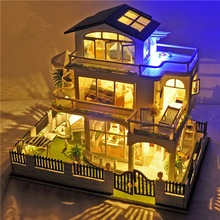 Check Price DIY Kit Dollhouse Toy Miniature Scale Model Puzzle Wooden Doll House With Furniture Nice Gift Impress of Vancouver Toy For Kits