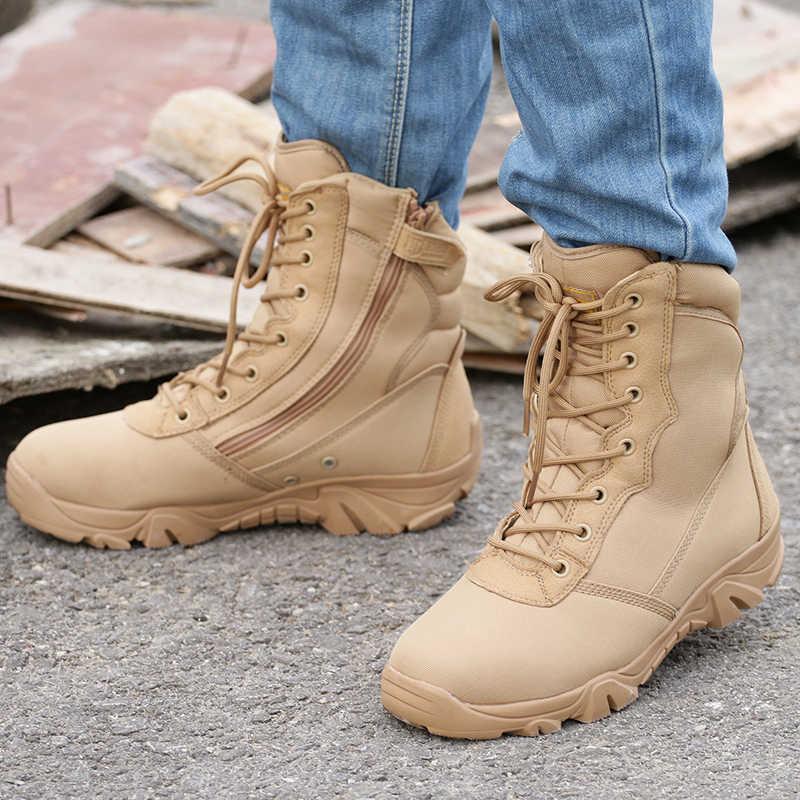 Winter Kaki Laarzen Militaire Tactische Enkel Schoenen Herfst Mode Toevallige Heren Laarzen Desert Botas Leger Schoenen Militares Tacticos
