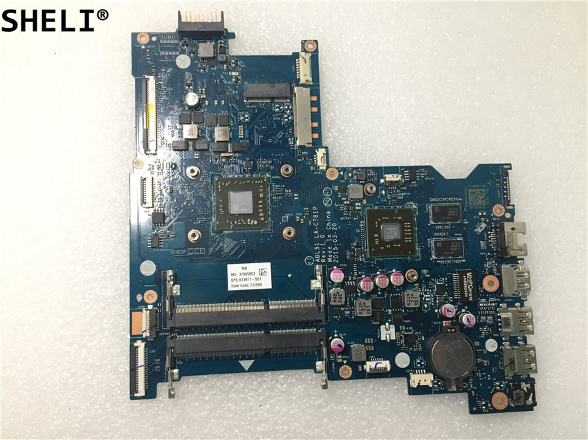 SHELI For HP 15-AF Laptop Motherboard Notebook Pc Mainboard Main Board With A8-7410 813971-601 813971-501 LA-C781P