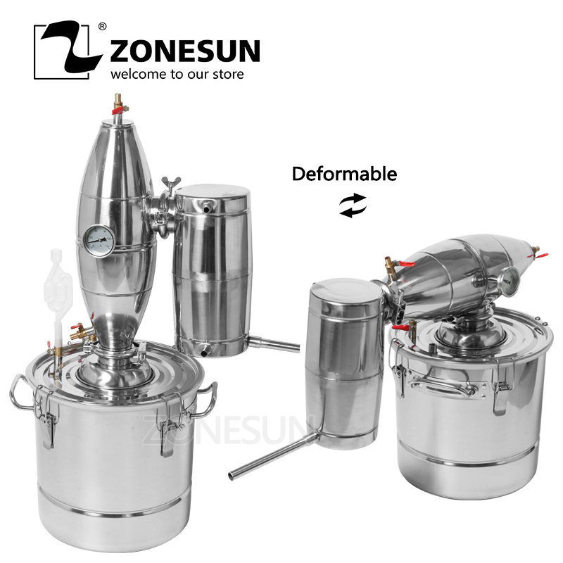 ZONESUN Household Stainless Steel Home Wine Brewing Device Alcohol Distiller Distillation English Manual Machine