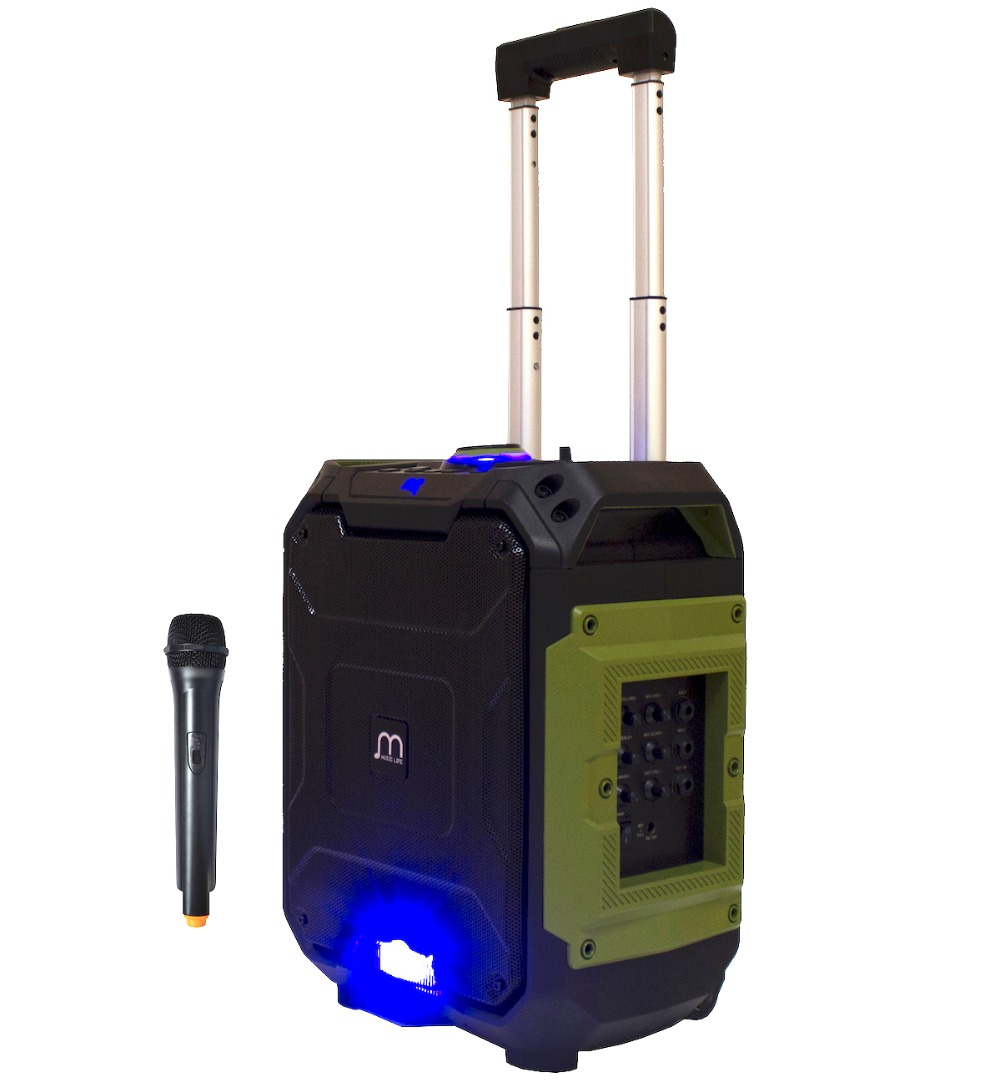 Karaoke Trolley Speaker with Bluetooth Wireless Microphone Portable FM Radio USB TF Card Rechargeable with Remote n74u portable media player speaker magaphone w tf usb fm microphone black