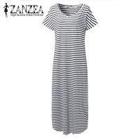 2017 Fashion ZANZEA Summer V Neck Short Sleeve Stripe Women Split Casual Maxi Long Dress Kaftan