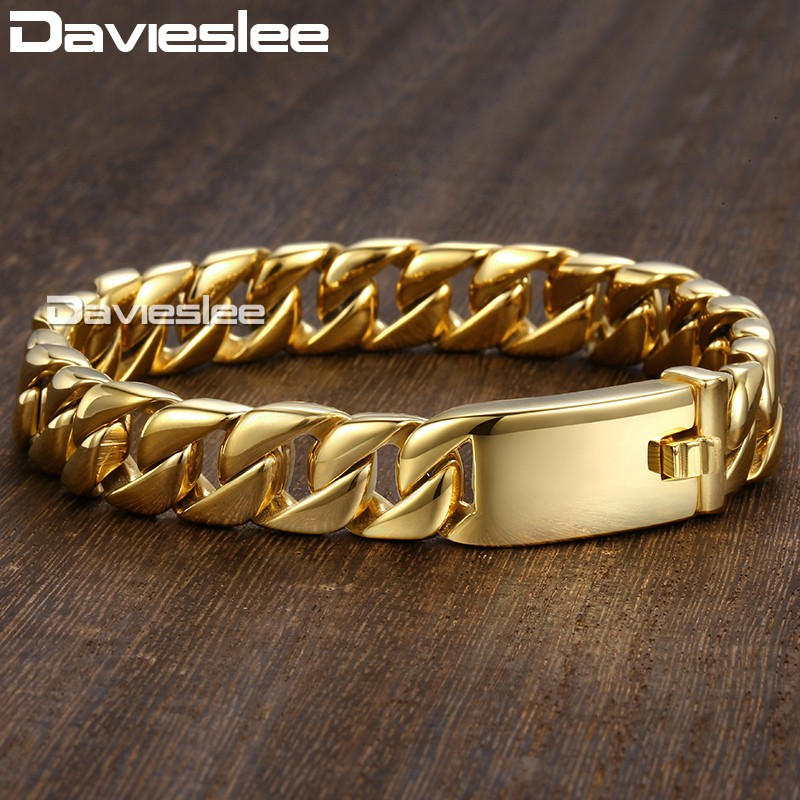 Davieslee Herren Armband Kette Curb Link 316L Edelstahl Armbänder - Modeschmuck - Foto 5