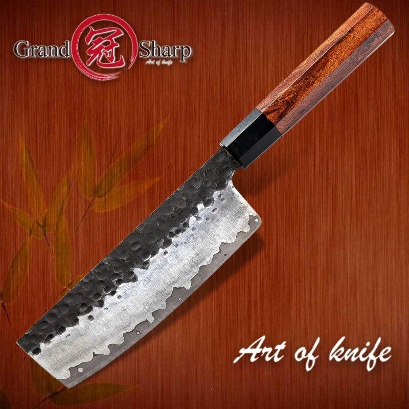 Grandsharp Handmade Nakiri Knife 3 Layers Japanese  AUS10 Steel Kitchen Knives ECO Friendly Chef Cooking Tools Vegetables Slice