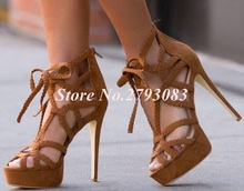 2019 Newest Weave Braid Gladiator Sandals Women Cut-out Lace-up High Platform Ladies Shoes With Heel Hollow Ladies Sandals sexy ladies mix colored rope cross high heel sandals cut out platform gladiator sandals bandage super high thin heel shoes