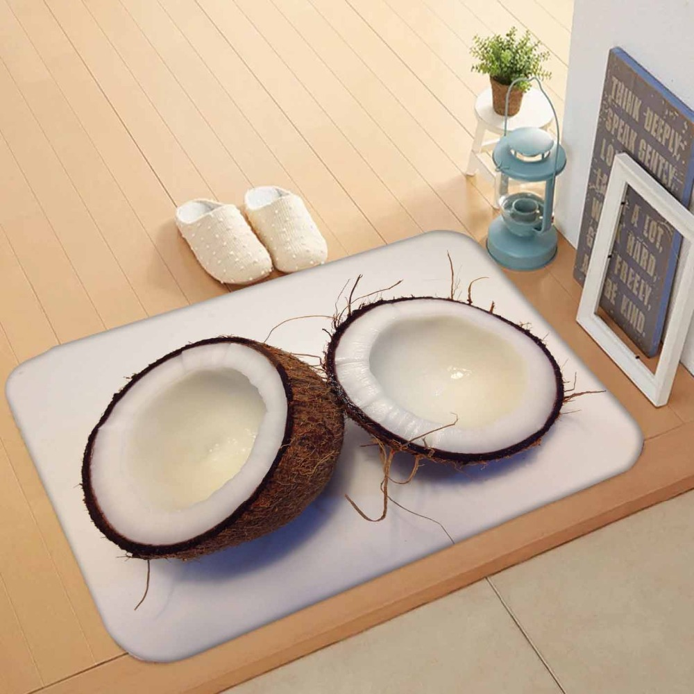 Else Gray Wood On Half Of White Coconuts Fruits 3d Pattern Print Anti Slip Washable Doormat Home Decor Entryway Kitchen Mat