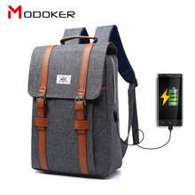 Modoker HOT SALE Korean Unisex Laptop backpack with External USB Interface for Travel, School bags with Anti-thief multifunction(China)
