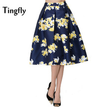 Tingfly Gorgeous Vintage Empire Waist 90S Floral Printed Office Midi Skirts Womens A Line Big Hem Princess Skirt Saia Faldas