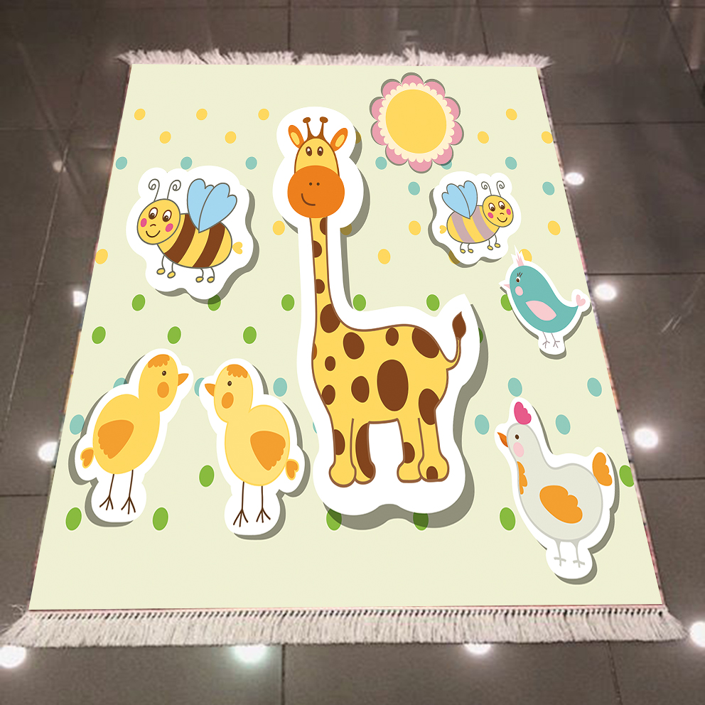 Else Cream Floor Yellow Giraffe Bee Chick Animals 3d Print Anti Slip Back Washable Decorative Kilim Kids Room Area Rug Carpet