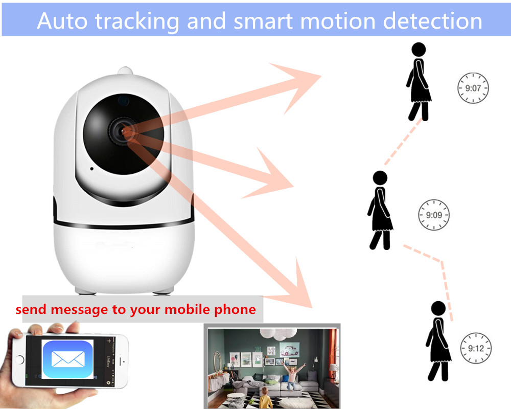 Wifi ip camera 1080P Auto tracking wireless CCTV security mini ip  surveillance camera baby monitor PTZ alarm Infared IR videocam