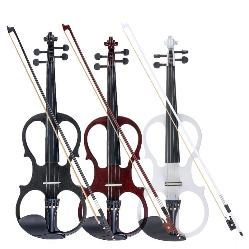 4/4 Électrique Acoustique Violon Tilleul Violon avec Violon Cas Couverture Bow pour Musical Instrument À Cordes Amateurs Débutants
