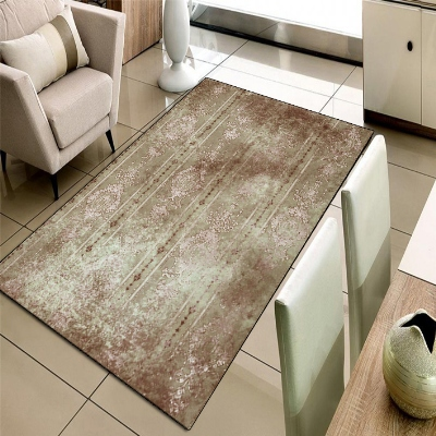 Else Brown White Authentic Turkish Vintage 3d Print Non Slip Microfiber Living Room Decorative Modern Washable Area Rug Mat