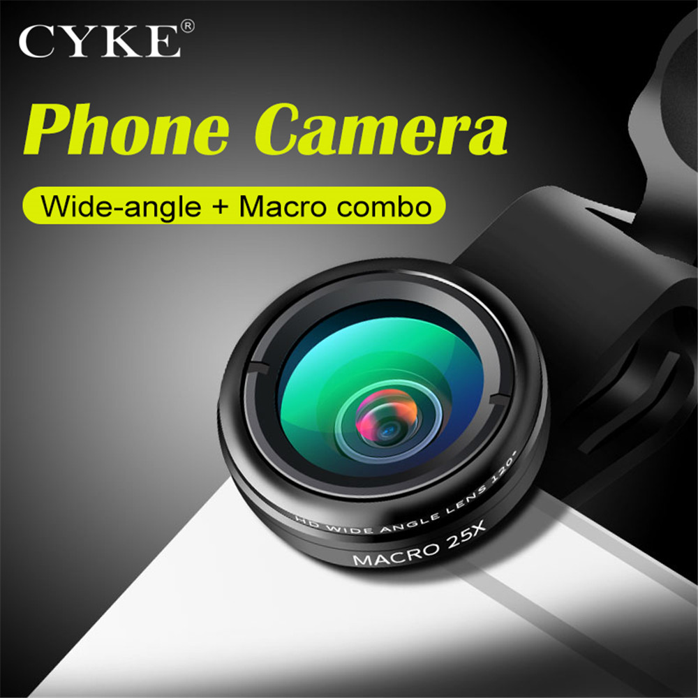 CYKE Phone Lens, 2 in 1 0.45X Wide Angle+25X Super Macro Camera Lens Kit for iPhone Samsung Xiaomi Smartphones lenses