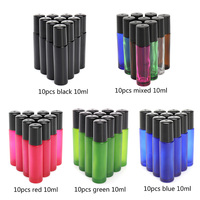 10pcs 10ml Roll On Bottle Empty Frosted Glass Essential Oil Bottles Metal Roller Ball Sample Container