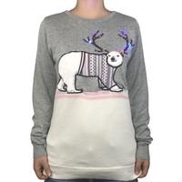 Funny Light Up Ugly Christmas Sweater For Women Kawaii Fluffy Reindeer Horn Poly Bear Led Xmas