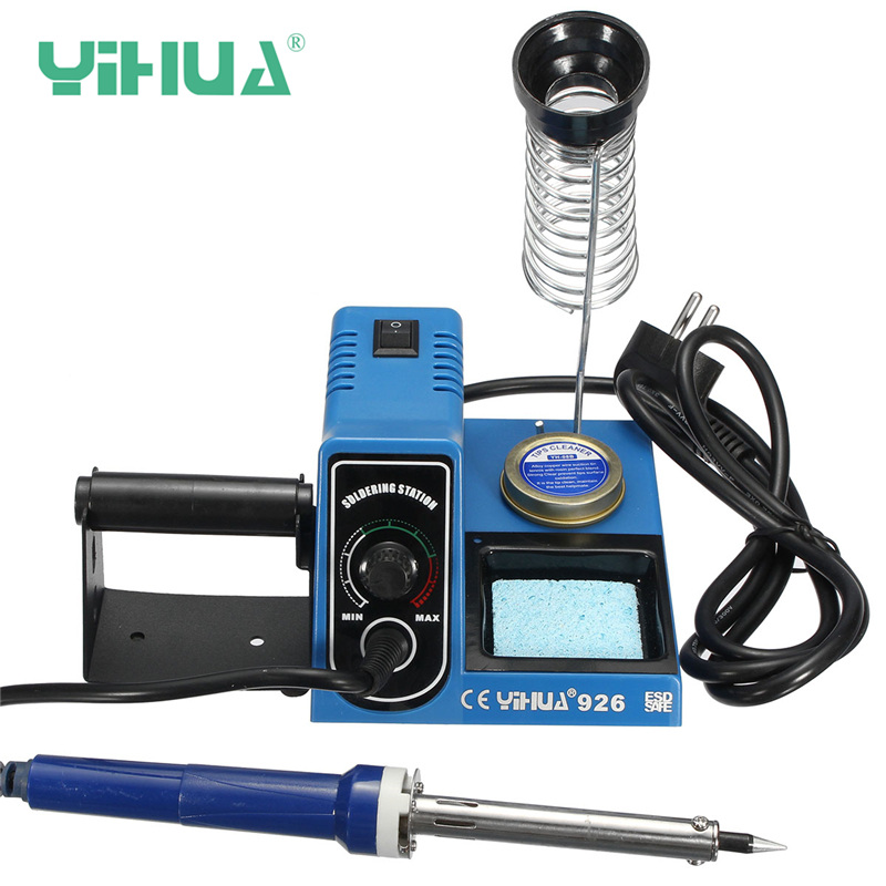 YIHUA 926 220V 60W Electric Iron Adjust Temp Soldering Welding Iron Station Tip Cleaner Wire Holder Base hot selling yihua 926 adjustable temperature electronic soldering iron station