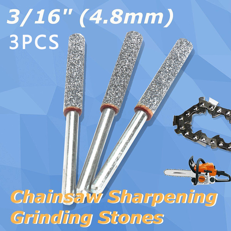 Juego de 3 piezas de piedras de afilado de cadena de 3//16 pulgadas