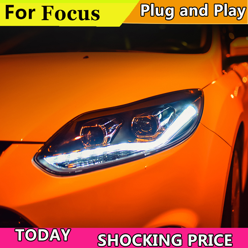 Car Style For Ford Focus headlights Year 2012 2013 2014 For Ford Focus LED Headlight Q5 bi xenon lens Lowbeam Headlamp цена 2017