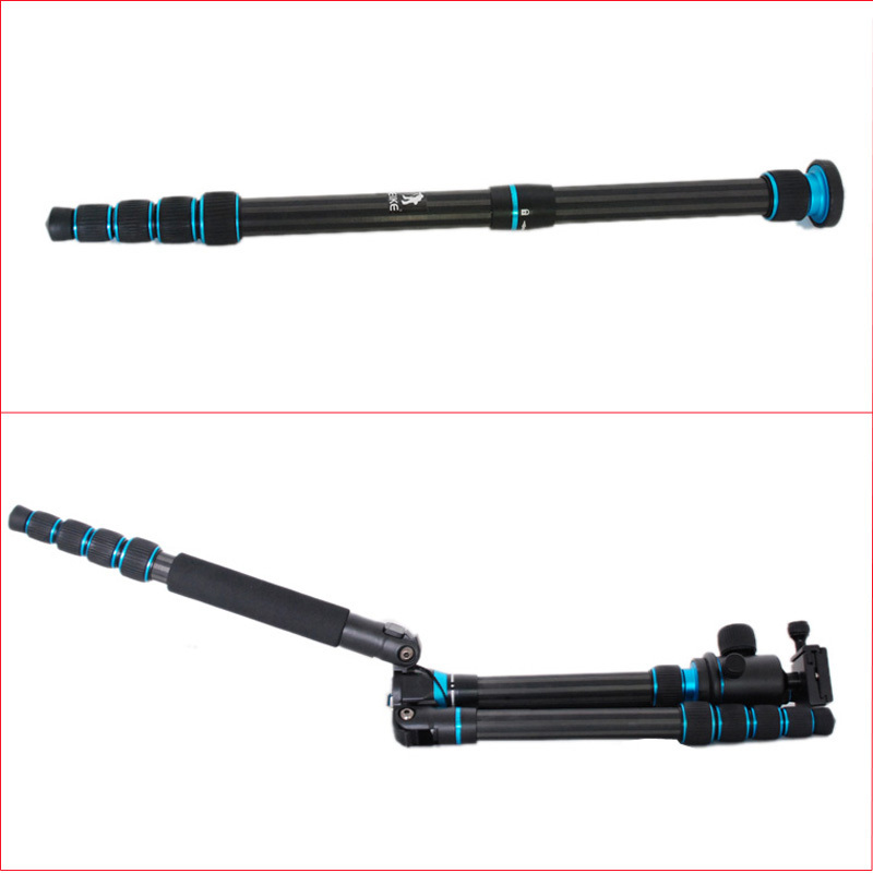 BEIKE BK-777C Carbon Fibre Travel Folded Tripod With Ball head Monopod Tripod Ball Head For Camera Nikon Canon Sony Olympus bexin 4 sections carbon fiber camera tripod ball head kits camera monopod head for canon nikon sony digital camera