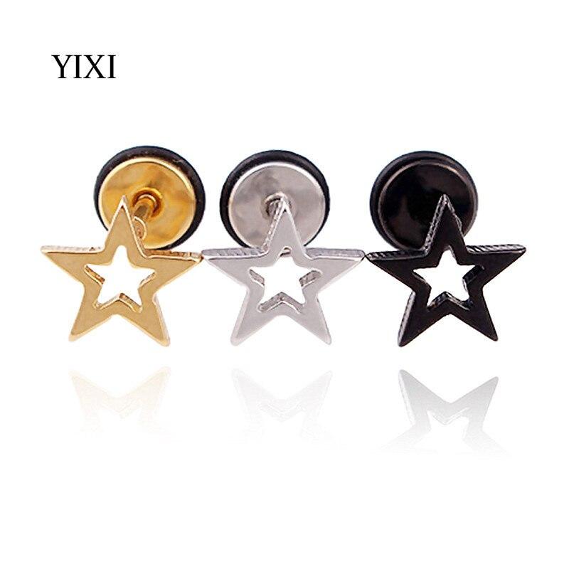 YIXI Novelty Star Earrings Rock Punk Unisex 2017 Popular Hollow Out Stainless Steel Earrings Small Pendientes Women Men Earring