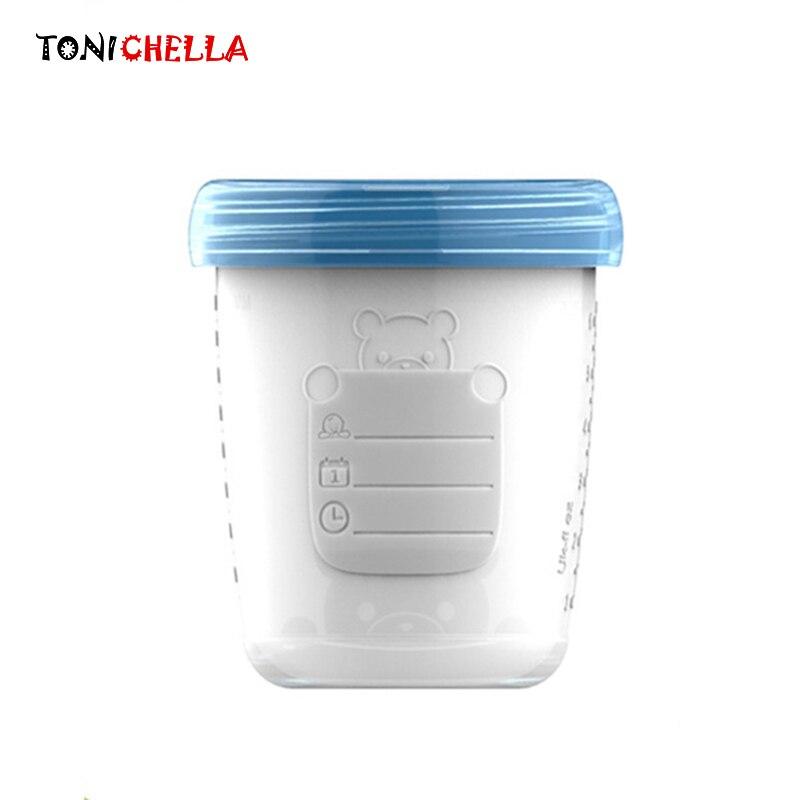 Детские Ёмкости для хранения грудного молока бутылочка коллекция новорожденных Еда морозильник контейнер для хранения BPA бесплатные продукты синий и красный цвета 180 мл t0322