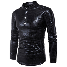 PADEGAO men PVC leather blouse long sleeve Metallic Shiny top Shirt Punk style clubwear Slim camisa masculina chemise homme 2XL