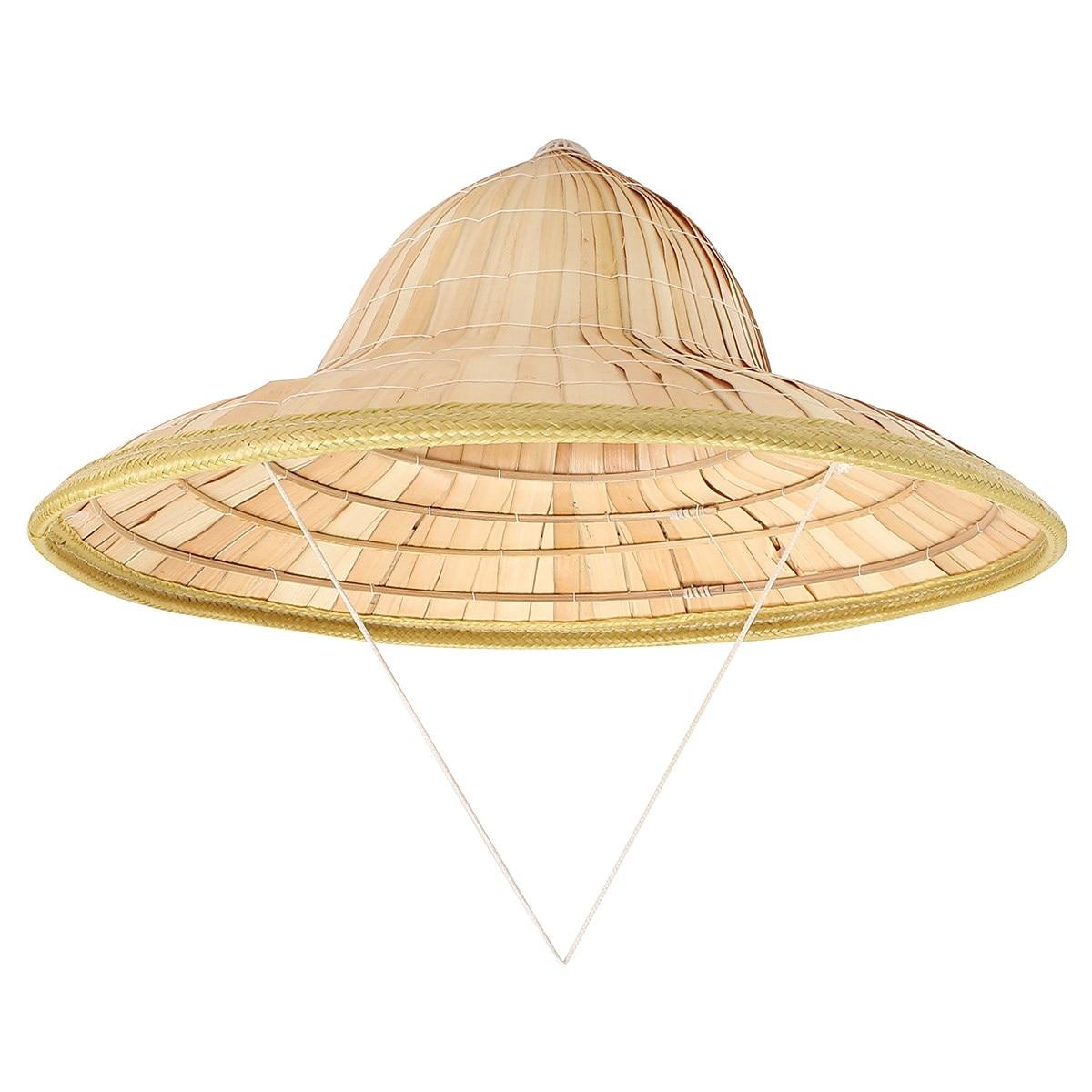 2018 Handmade Weave Straw Hat Chinese Style Bamboo Rattan Hats Steeple Retro Tourism Rain Caps Fisherman Bucket Hat Sunshade