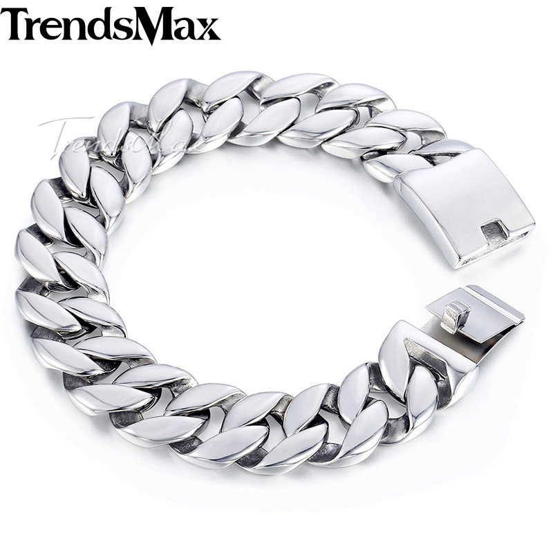 Trendsmax Curb Cuban Link Bracelet Mens Bracelet 316L Stainless Steel Fashion Jewelry Silver Tone 18mm KHB471 trendsmax bracelet for men 316l stainless steel curb cuban link chain bracelet totem knot charm wristband men fashion gift hb10