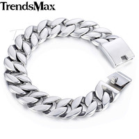 Trendsmax 316L Stainless Steel Curb Cuban Link Bracelet Mens Bracelet 18mm Silver Tone Customized KHB471