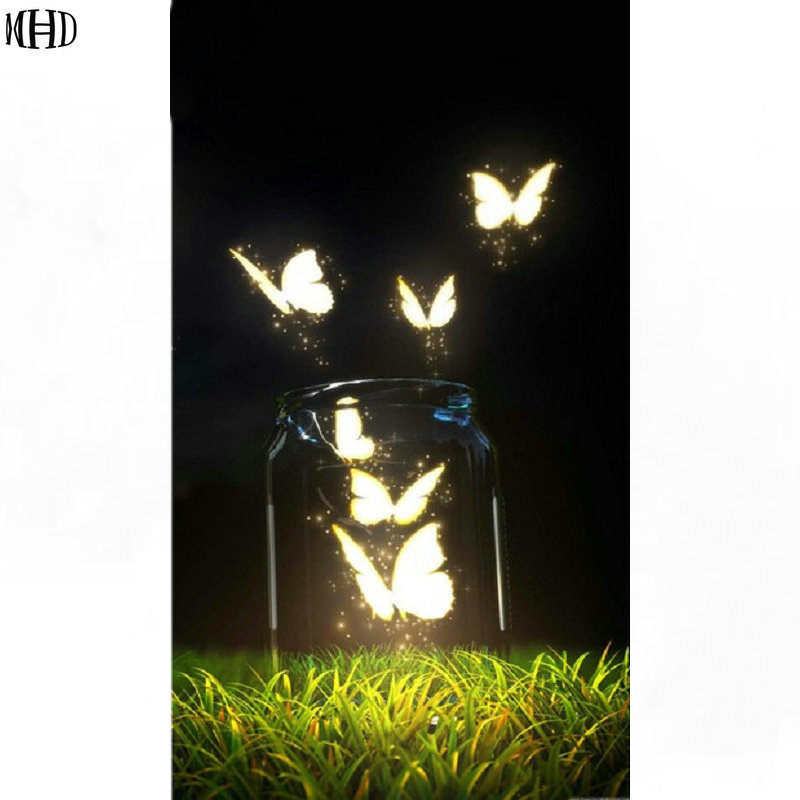 2018DIY Diamond Painting cross stitch butterfly Home Decoration Diamond Mosaic Pattern Full square Diamond Embroider Glass jar ...