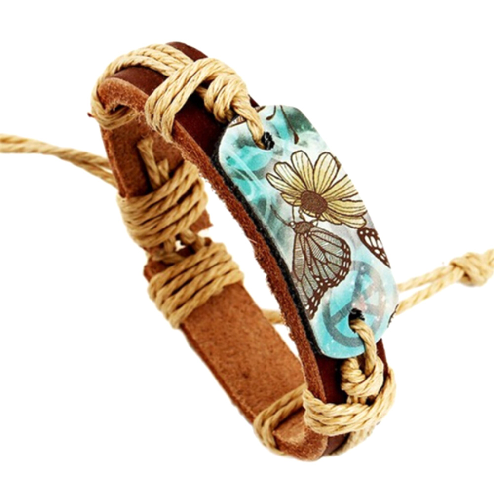 Factory Direct Leather Bracelet Tang Hua Butterfly Pattern Peace Sign Bracelet Men And W ...
